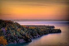 Au Sable Sunset on Lake Superior (cheryl strahl) Tags: michigan lakesuperior sunset ausablelightstation lightstation grandmarais uppermichigan theup picturedrocksnationallakeshore fall fallcolors