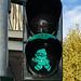 Green Mainzelmännchen traffic light in Mainz, Germany