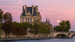 Moonrise, River Seine (RoTTeN aPPLe WaYFaReR) Tags: paris france sony sonyilce7rm3 fe24105mmf4goss mirrorless sonya7riii evening moon red pink outside river riverside lovely warm twilight goldenhour dusk