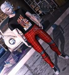 ♫ The cycle repeated as explosions broke in the sky... ♪ (ThiegoFire) Tags: male fashion man men style art sl secondlife albino plaid shirt paré handsome outfit bento boy signature catwa design levelevent guy gianni hairstyle hair head car old garage