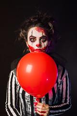 Happy Creepy (Tim Paza May) Tags: creepy makeup timpazamay brazil woman darkness nikon d750 balloon spooky red eyes studio shot lau paza may