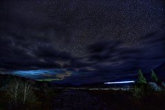 Night Sky with Caledonian Sleeper (Mr_Pudd) Tags: river riverorchy tree milkyway star stars railwayengine caledoniansleeper train cloud clouds astrophotography longexposure nightphotography sigma20mmf14artlens nikond750 nikon scotland bridgeoforchy