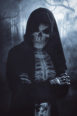 Trick or ? (gimmeocean) Tags: halloween skeleton scary fullmoon moon graveyard dark moody night katesbackdrop fabricbackdrop backdrop skull spooky foggy fog vertical vert