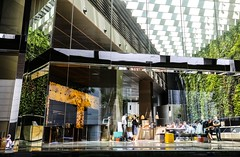 Modern CBD Life (kiwi photo lover) Tags: singapore republic centralbusinessdistrict rafflesplace batteryroad glass enclosure artificialenvironment office tower entrance modern workinglife concierge sofas seating waterfeatures vegetatedwall airconditioning natural light reflections