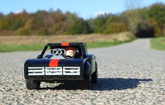 Owen in a Dodge Charger (captain_j03) Tags: toy spielzeug 365toyproject lego minifigure minifig moc car auto 7wide dodge charger brickverse