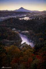 Hood and the fog at Jonsrud (Matt Straite Photography) Tags: fall color landscape hood sandy river water stream fog clouds sunrise tripod canon oregon mountain