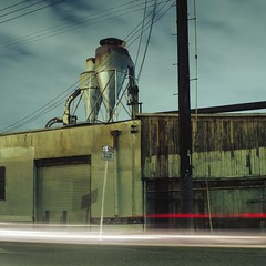 Tracer lights, no stopping (ADMurr) Tags: la eastside industrial night roof pole car tracers hasselblad 500cm zeiss distagon 50mm kodak ektar dad344