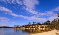 Randall's Bay (Lani Elliott) Tags: scene scenic bay water reflection reflections sky clouds bluesky nature naturephotography lanielliott scenictasmania randallsbay trees cliffs sand beach