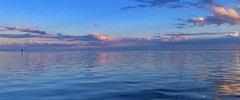 Pastel Pink Sunset Reflected on Tampa Bay, Florida (StephenLeedyPhotography) Tags: pastel pink sunset cloud reflection reflect tampa bay beach st petersburg florida blue sky