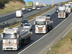 J & D Pierce, Mercedes Actros & Scania Convoy Heading Southbound On The A1M. (Gary Chatterton 7 million Views) Tags: jdpierce mercedesactros scaniatrucks convoy scotland trucking wagon lorry haulage logistics transport motorway flickr canonpowershotsx430 photography