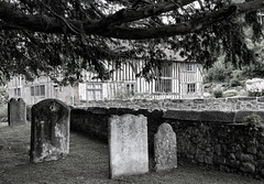 Church House, Loose, Kent (Ray in Manila) Tags: blackandwhite monochrome tree tombstone village gardens churchhouse haunted spooky eos650d listed house tudor maidstone england unitedkingdom graveyard halloween kent loose allsaintschurch church worship