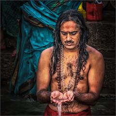 Morning rituals at the Ganges river #8 (felixvancakenberghe) Tags: asia asian hinduism india man people portrait praying person religion varanasi water