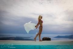 Myself.  What a view!! Tholos Resort, Imerovigli, Santorini. (corineouellet) Tags: île island seaview blueocean clouds canonphoto seascape sea oceanview greece santorini blondegirl blonde girl women bikini pool landscape view mannequin model