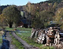 ... and the road to Hildburghausen town (Gerlinde Hofmann) Tags: germany thuringia village bürden path woodstack tree woodenbarn road uphill curvy
