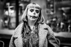 Hallowe'en (Leanne Boulton) Tags: urban street spontaneous portrait portraiture streetphotography candidstreetphotography streetportrait candidportrait eyecontact candideyecontact streetlife candid woman female girl face eyes expression mood emotion feeling atmosphere spooky halloween makeup ghoulish creepy horror tone texture detail depthoffield bokeh imperfection naturallight outdoor light shade dark darkness city scene human life living humanity society culture lifestyle people canon canon5dmkiii 50mm ef50mmf14usm primelens black white blackwhite bw mono blackandwhite monochrome glasgow scotland uk