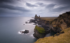Londrangar. (darek_gruszka) Tags: iceland october 2019 landscape scenic cliffs long exposure sky water clouds rain lee filter manfrotto nikon basalt rocks peninsula