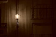 Le Visiteur du Soir et la groseille à maquereau (Jean-Luc Léopoldi) Tags: lampadaire evening éclairagepublic mur darkness obscurité balcons voletsfermés nocturne nuit lumière light lézard ombres