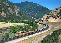 MoPac on the Rio Grande (jamesbelmont) Tags: coal skyline intermountainpower castilla spanishforkcanyon locomotive railway railroad train c367 ge drgw riogrande unionpacific missouripacific