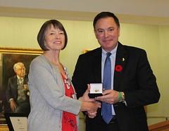 SASKATCHEWAN: Award recipient/lauréate LaVera Schiele, with/avec the Honourable/l'honorable Gordon Wyant, Minister of Education/ministre de l'Éducation