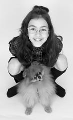 Jade and Zino (roland_tempels) Tags: child girl pomeranian dog studio smile jade zino canonef24105mmf4usm canon5dmarkiv white