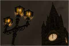 Midday or Midnight? (Fermat 48) Tags: albertsquare manchester townhall clock lamppost midday midnight threelamps night day canon eos 7dmarkii ef24105mmf4lisusm