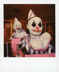 Happy Halloween (tobysx70) Tags: polaroid originals color 600 instant film slr680 happy halloween the crypt by cinema secrets riverside drive burbank toluca lake los angeles la california ca creepy clown clowns scary mannequin showroom dummy doll portrait makeup no eyes bokeh toby hancock photography