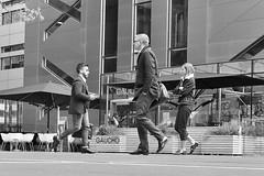 Freeze. Lets all stand on one leg.... (markwilkins64) Tags: streetphotography street candid blackandwhite monochrome mono bw london broadgate uk chairs grass gaucho markwilkins