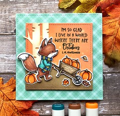 Pumpkin Time (The Queen's Scene) Tags: card cardmaking colorthrowdown stamping papercrafting handmadecard hellobluebird fall