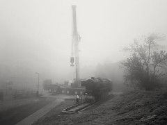 Busy morning 2 (wojciechpolewski) Tags: morning foggymorning foggyweather fog industrial industry crane machine transportation streetsnap streetexplorer streetshot urban urbanexplorer city blackandwhite blackwhite blanconegro schwarzweis poland wpolewski photos photo workers