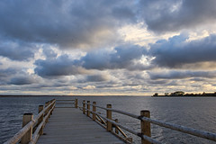 Wooden footbridge by the lake. (ms.gulbis) Tags: liepaja lake latvia footbridge clouds water afternoon walking wooden