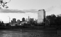 Red Hook (neilsonabeel) Tags: nikonfm2 nikon nikkor brooklyn newyorkcity redhook film analogue blackandwhite tenniscourt skyline dusk city urban