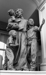 St. Vincent de Paul Statue (neilsonabeel) Tags: nikonfm2 nikon nikkor film analogue blackandwhite brooklyn statue newyorkcity