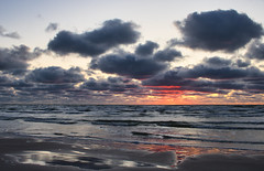 Liepaja beach. Red sunset. Walking. (ms.gulbis) Tags: liepaja balticsea sea seashore seascape seaside beach sunset clouds waves redsunset reflection walking