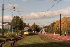 Autumn Metrolink (WT_fan06) Tags: manchester bombardier tramway metrolink public transportation autumn green photography urban nature yellow orange colours nikon d3400 dslr sky clouds