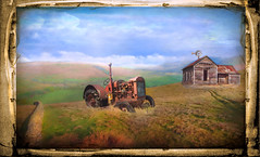 Rolling FarmHills (jarr1520) Tags: sky house tractor stone clouds landscape outdoors farm farmland valley rollinghills rockwall abandoned home farmhouse framed grassland textured