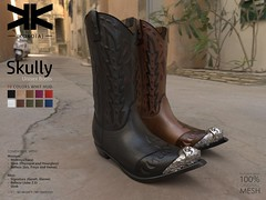 Skully :: Unisex Boots :: 10 Colors (///////////////-//////////////) Tags: kokoia skully cowboy cowgirl west boots boot shoes slink classic avatar mesh belleza signature maitreya man men woman oeste camperas botas unisex secondlife 3d