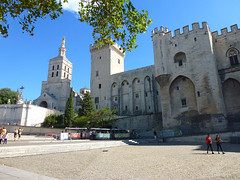 Avignon Cathedral x Palais des Papes (paul nine-o) Tags: europe holiday trip wellgoodnice architecture hot sunny outdoor sky sun cloud sea avignon france southoffrance mediterranean mediterraneansea hérault occitanie rhone citywall remparts rempartsdavignon vaucluse fortifications worldheritagebyunesco placedupalais palaisdespapes palaceofpopes medievalgothic fortress palace seatofwesternchristianityduringthe14thcentury constructionbeganinad1252 cathédralenotredamedesdomsdavignon avignoncathedral cathedralofourladyofdoms romancatholic archbishopofavignon romanesque 12thcentury