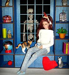 Happy Halloween! 💀👽👻🎃 (Deejay Bafaroy) Tags: happyhalloween halloween 2019 goldenholiday poppyparker poppy doll puppe fashion royalty fr integrity toys barbie white weiss blue blau red rot 16 scale miniature miniatur pullover diorama heart herz cat cats katze katzen skeleton skelett scary shelf regal window fenster unheimlich gruselig