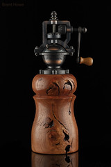 """Pepper mill made from grapewood in Paso Robles, CA (Brent Howe) Tags: """"burlwood"""" rust metal grapevine wood gears black glass """"steampunk"""" studio macro"""