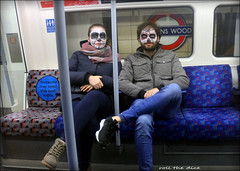 `2909 (roll the dice) Tags: london tube halloween tfl lights platform carriage passengers mad dun funny smile happy reaction angry streetphotography scared ghost party makeup urban england unaware unknown uk classic people fashion portrait strangers candid roundel busy crowd jubilee bakerstreet bondstreet tricktreat surprise blood scar pumpkin eyes shock horror costume laugh creepy colour canon tourism tourists girl pretty sexy dark magic window glass reflection mirror goblin scary seat couple brave underground love web spider