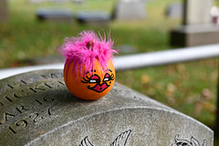 Happy Halloween! (dr_marvel) Tags: tombstone cemetery smile eyes hotpink ny newyork orange pittsford rochester pittsfordcemetery pumpkin grave gravestone headstone hair lips eyelashes