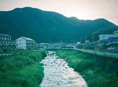 a river runs through it (Kenji Kitae) Tags: river water town city morning building house home green road nature lifestyle lifework location landscape life tottori japan earth film filmcamera pentax645n fuji400hpro