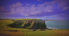 Dunluce Castle (Rollingstone1) Tags: dunlucecastle bushmills countyantrim northernireland castle fort stronghold building historic history medieval cliffs sea hills coast coastline outdoors archaeology water waves art artwork
