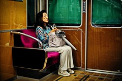 An old lady sitting on the velvet seat (snowpine) Tags: street streetphotography streetportrait people portrait candid onthetrain tube carriage oldlady japan kyoto