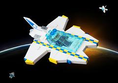 Police Vic Viper (David Roberts 01341) Tags: lego vv novvember space spaceship spacecraft scifi minifigure police interceptor battenburg white vic viper vicviper