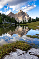 Portrait reflection at Fanes (NettyA) Tags: 2019 alpedifanespiccola dolomites europe fanes fanessennesbraiesnaturalpark italy luminarquickawesome mountain parconaturalefanessenesbraies southtyrol trentino valbadia afternoon hike hiking landscape limestone mountains reflection rock stream water waterhole