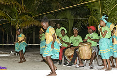 Garifuna dancers and drummers (roijoy) Tags: red garifuna traditions 2142 dancing drumming belize culture