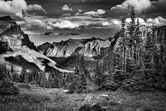 Big Valley - Logan Pass, Glacier National Park (j-rye) Tags: bw fall glaciernationalpark hiddenlakeoverlook landscape montana saintmarylake a7rm2 clouds hike loganpass mirrorless monochrome mountains rocks shadows sky sony sonyalpha sunset tamron2875 trees