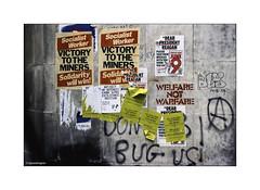Victory to the Miners 1984 Kodachrome © (wpnewington) Tags: 1984 london elephantandcastle om2n olympus analogue analog slide transparency kodachrome