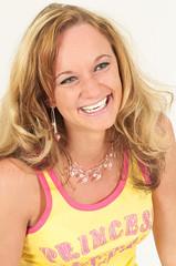 Smile! (Martin Bärtges) Tags: girl mädchen frau woman laughing laugh lachen blond hair haare studio studiophotography studiofotografie flash blitz blitzanlage background white weis hintergrund nikon d2h nikonfotografie nikonphotography shirt tshirt blue eyes blaue augen